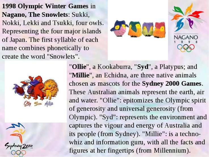 1998 Olympic Winter Games in Nagano, The Snowlets: Sukki, Nokki, Lekki and Ts...