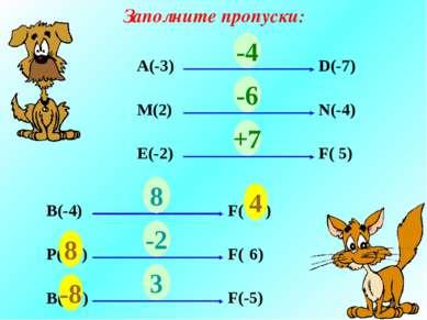Заполните пропуски: А(-3) D(-7) ? М(2) N(-4) ? E(-2) F( 5) ? -4 -6 +7 В(-4) F...