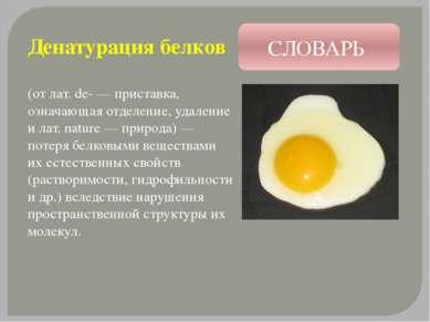Денатурация белков (от лат. de- — приставка, означающая отделение, удаление и...