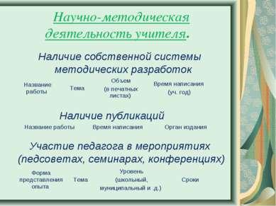 Научно-методическая деятельность учителя. Наличие собственной системы методич...