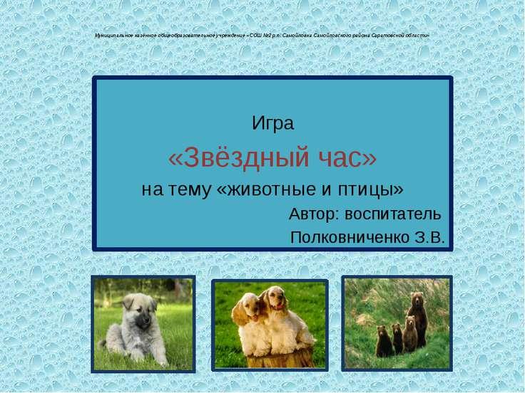 Муниципальное казённое общеобразовательное учреждение «СОШ №2 р.п. Самойловка...