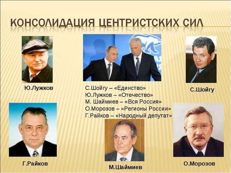 С.Шойгу – «Единство» Ю.Лужков – «Отечество» М. Шаймиев – «Вся Россия» О.Мороз...