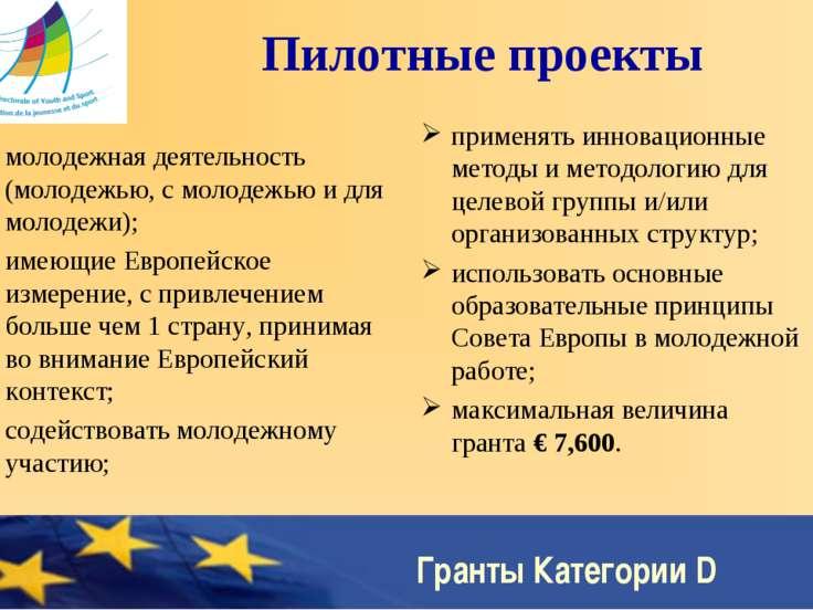 Гранты Категории D Пилотные проекты молодежная деятельность (молодежью, с мол...