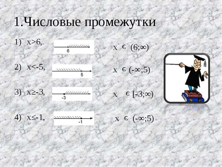 1.Числовые промежутки х>6, х