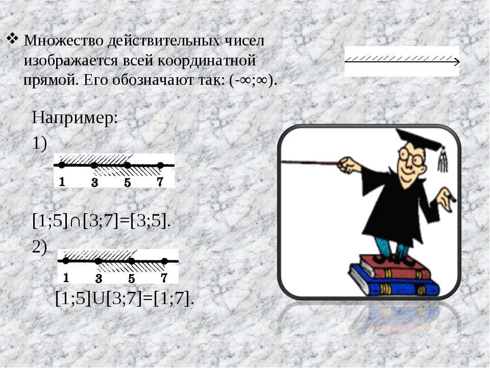 Множество действительных чисел изображается всей координатной прямой. Его обо...