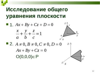 * Исследование общего уравнения плоскости 1. 2. O(0,0,0) P