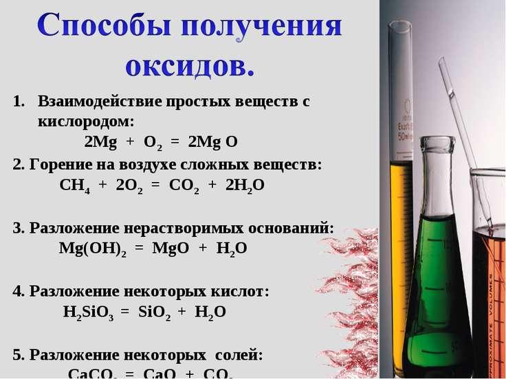 Взаимодействие простых веществ с кислородом: 2Mg + O2 = 2Mg O 2. Горение на в...