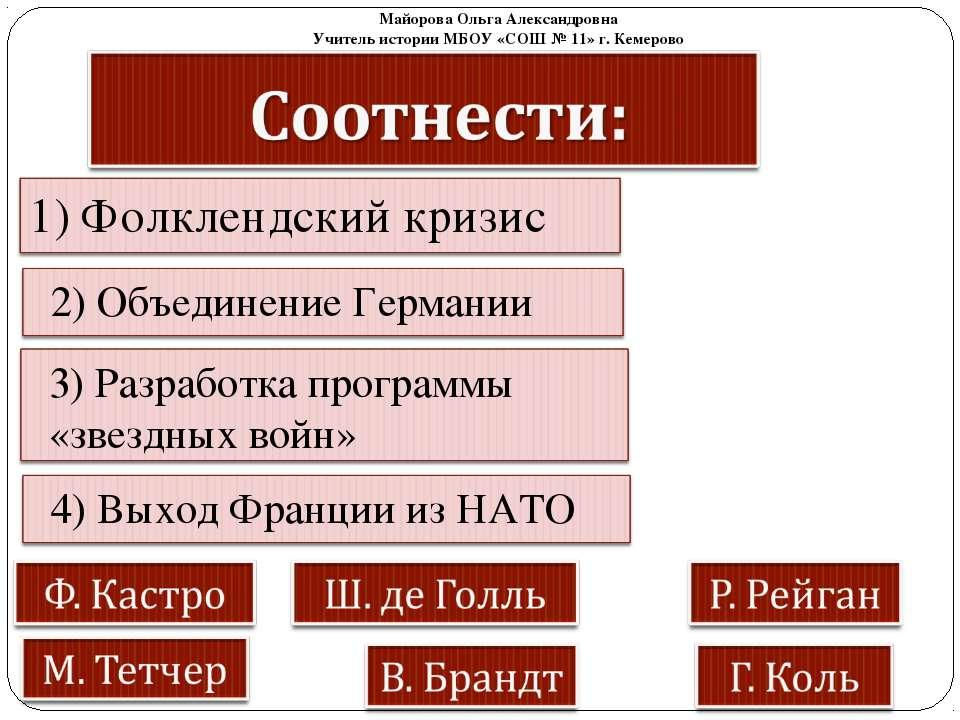 Майорова Ольга Александровна Учитель истории МБОУ «СОШ № 11» г. Кемерово