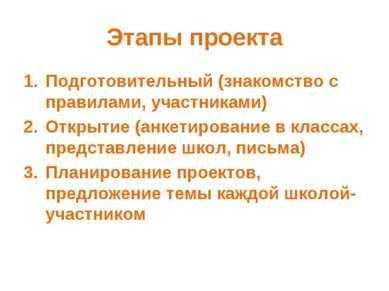 Этапы проекта Подготовительный (знакомство с правилами, участниками) Открытие...
