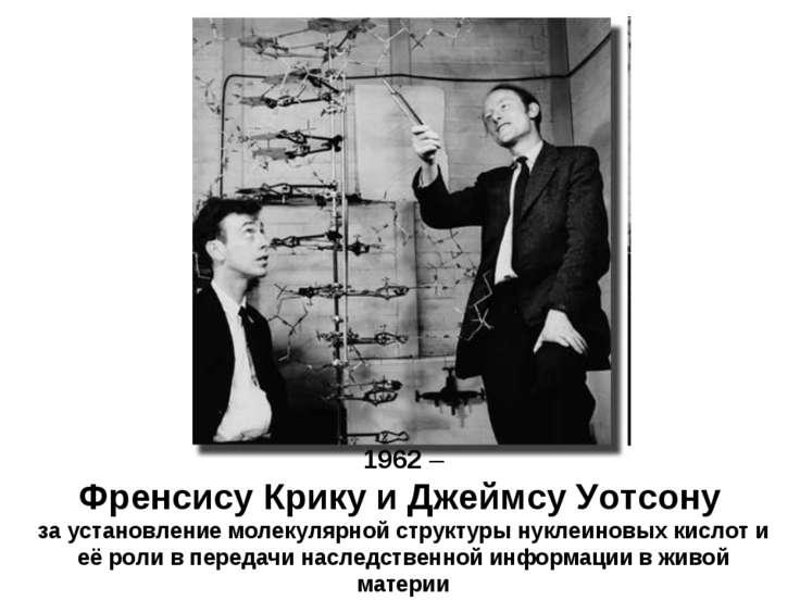 1962 – Френсису Крику и Джеймсу Уотсону за установление молекулярной структур...