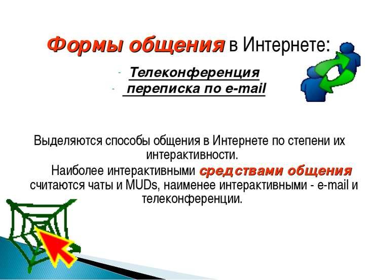 Формы общения в Интернете: Телеконференция переписка по e-mail Выделяются спо...