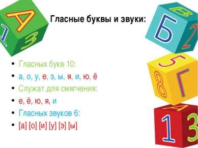 Гласные буквы и звуки: Гласных букв 10: а, о, у, е, э, ы, я, и, ю, ё Служат д...