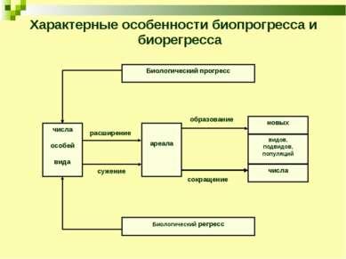 Характерные особенности биопрогресса и биорегресса расширение сужение образов...
