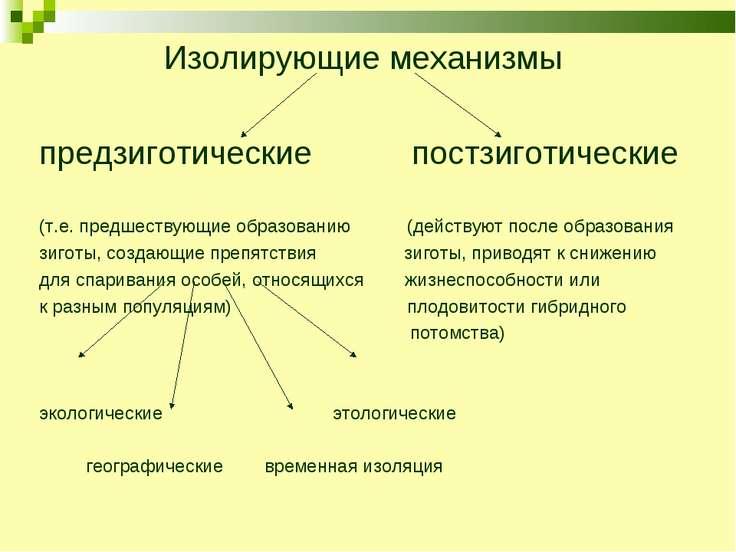 Изолирующие механизмы предзиготические постзиготические (т.е. предшествующие ...
