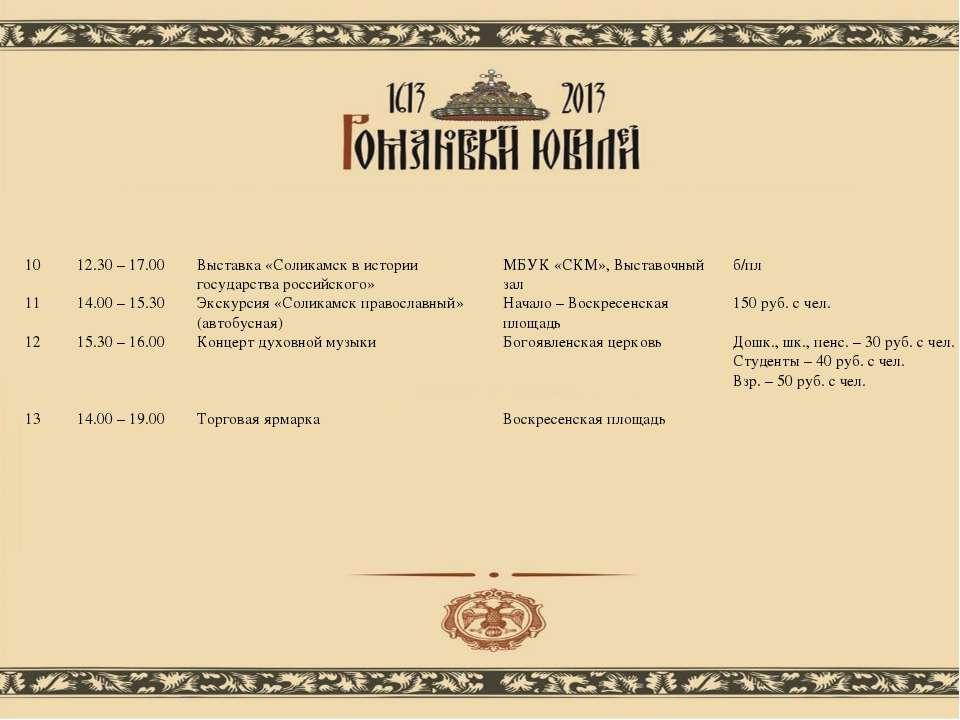 10 12.30 – 17.00 Выставка «Соликамск в истории государства российского» МБУК ...
