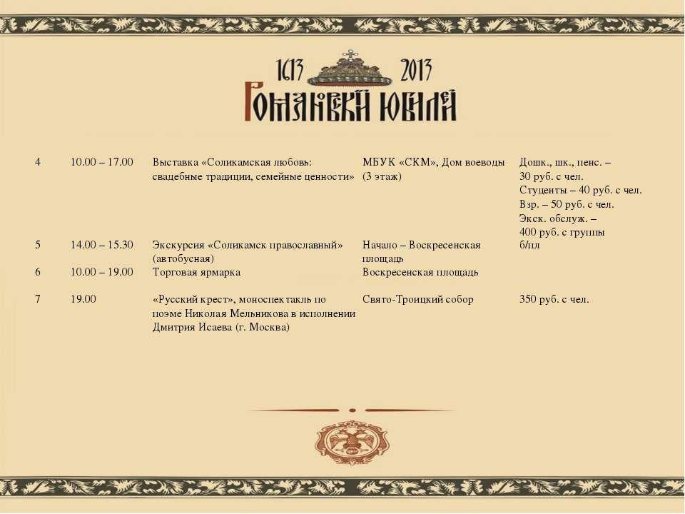 4 10.00 – 17.00 Выставка «Соликамская любовь: свадебные традиции, семейные це...