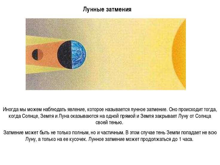 Иногда мы можем наблюдать явление, которое называется лунное затмение. Оно пр...