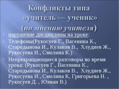 нарушение дисциплины на уроке: Телефоны(Рукосуев Г., Васенина К., Стародынова...
