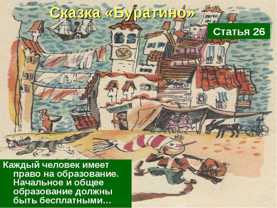 Сказка «Буратино» Каждый человек имеет право на образование. Начальное и обще...