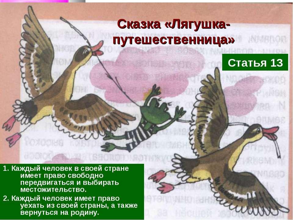 Сказка «Лягушка-путешественница» 1. Каждый человек в своей стране имеет право...