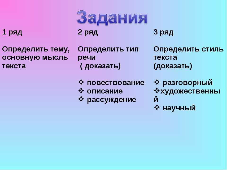 1 ряд Определить тему, основную мысль текста 2 ряд Определить тип речи ( дока...