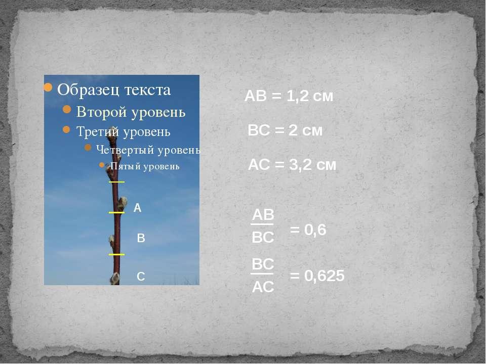 А В С АВ = 1,2 см АС = 3,2 см ВС = 2 см АВ ВС ВС АС = 0,6 = 0,625