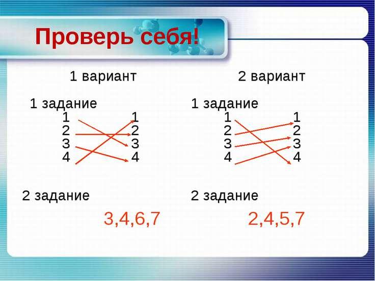 Проверь себя! 1 вариант 2 вариант 1 задание 1 1 2 2 3 3 4 4 1 задание 1 1 2 2...