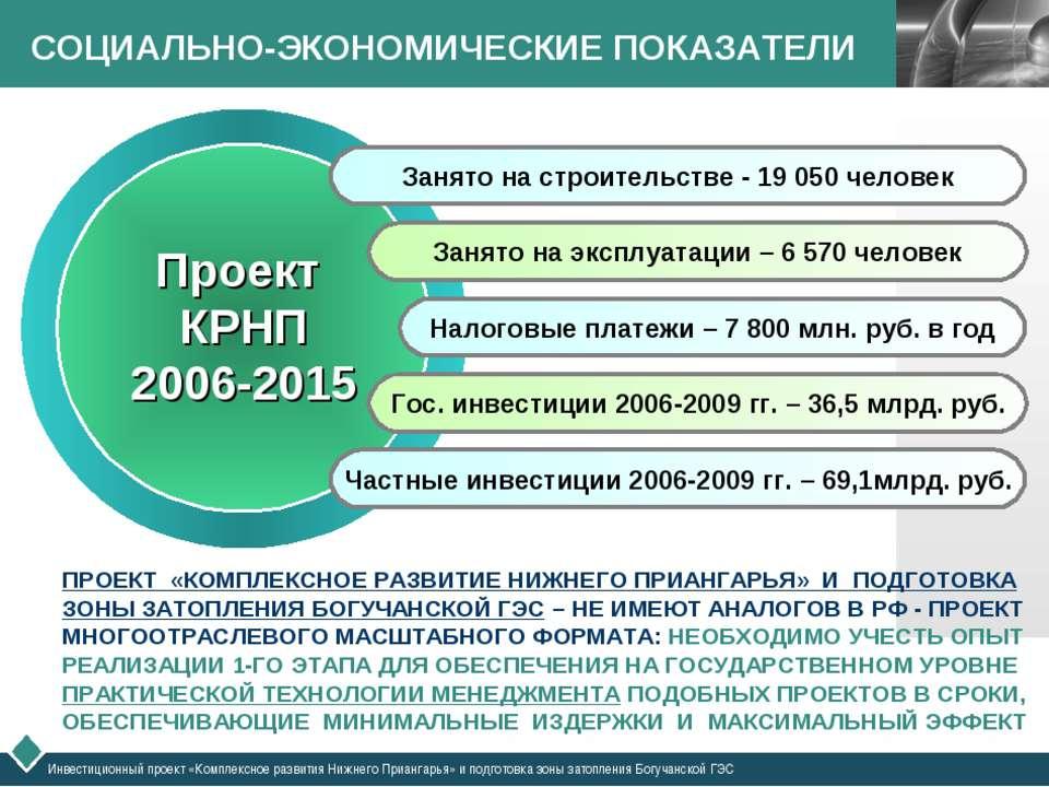 СОЦИАЛЬНО-ЭКОНОМИЧЕСКИЕ ПОКАЗАТЕЛИ Инвестиционный проект «Комплексное развити...