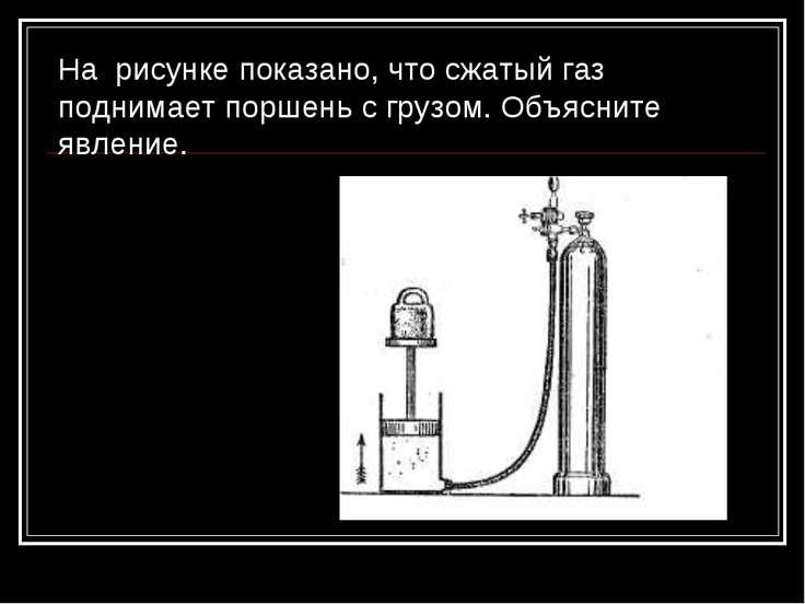 На рисунке показано, что сжатый газ поднимает поршень с грузом. Объясните явл...