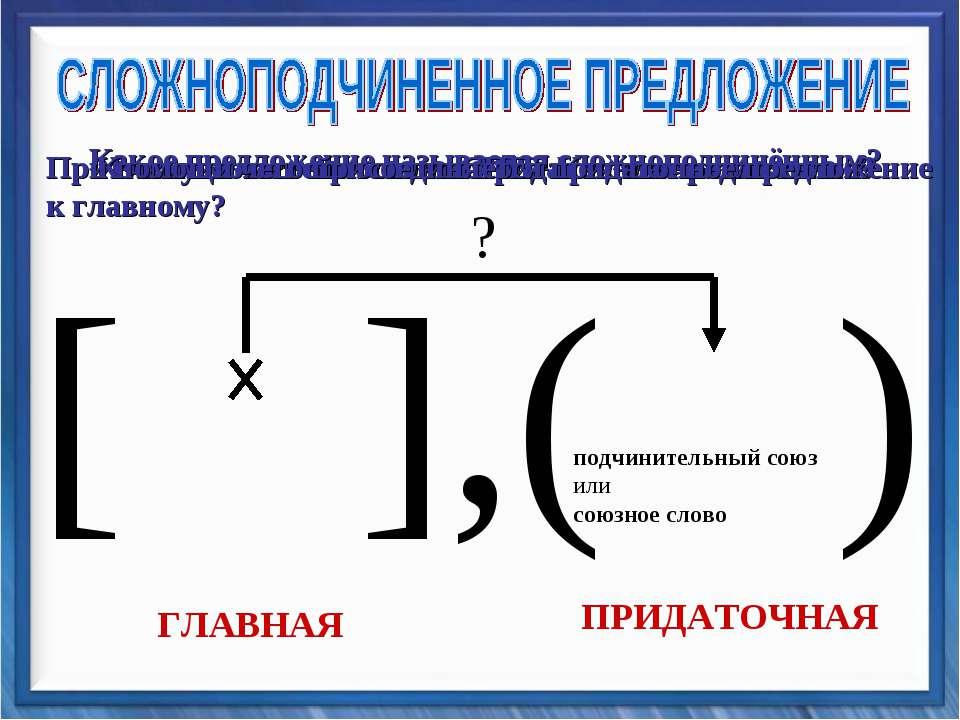 [ ],( ) подчинительный союз или союзное слово ГЛАВНАЯ ПРИДАТОЧНАЯ ? Какое пре...