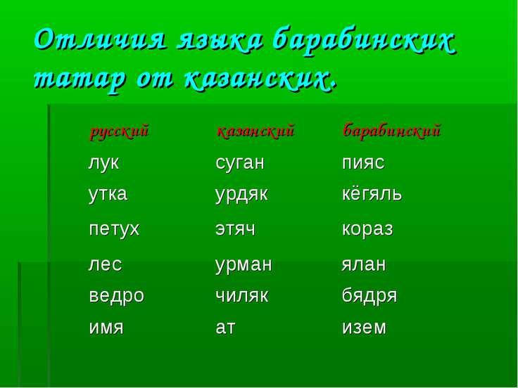 Отличия языка барабинских татар от казанских. русский казанский барабинский л...