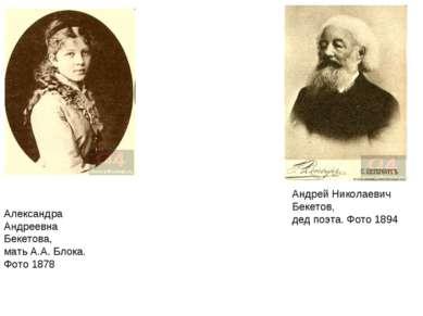 Александра Андреевна Бекетова, мать А.А. Блока. Фото 1878 Андрей Николаевич Б...