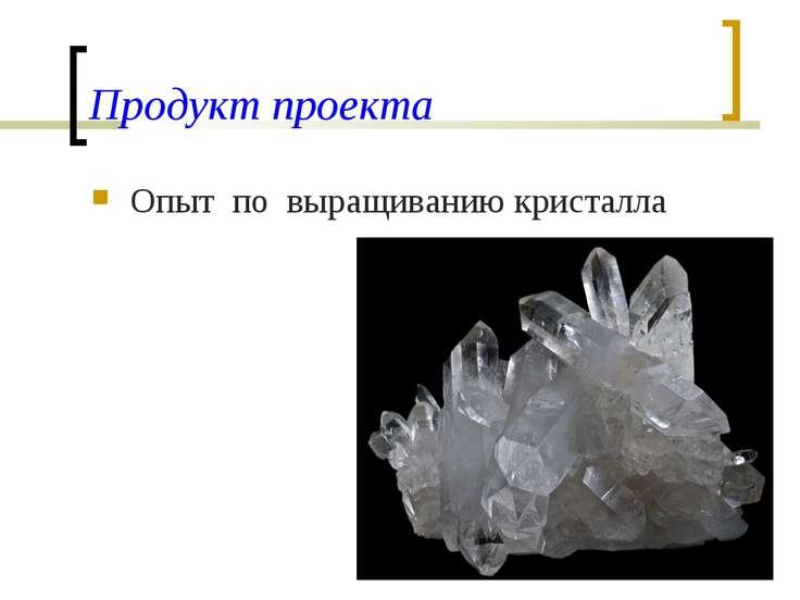 Продукт проекта Опыт по выращиванию кристалла