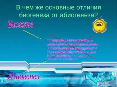 В чем же основные отличия биогенеза от абиогенеза? образование органических с...