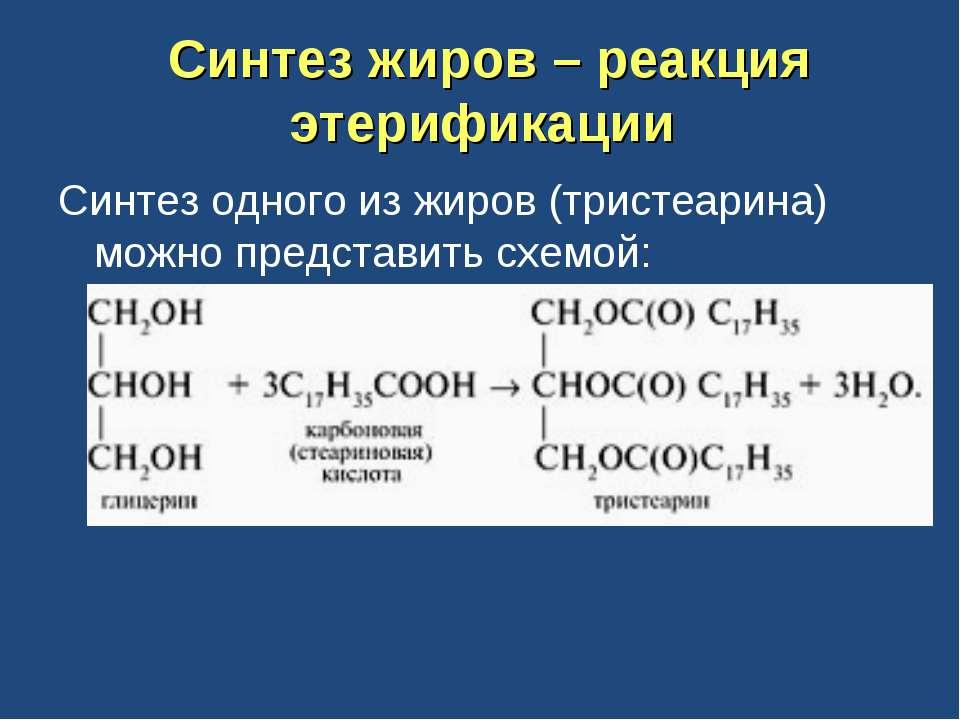 Синтез жиров – реакция этерификации Синтез одного из жиров (тристеарина) можн...