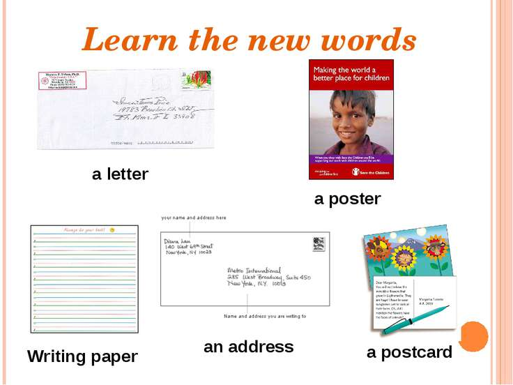 Learn the new words a poster Writing paper a postcard a letter an address