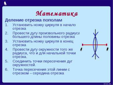 Математика Деление отрезка пополам Установить ножку циркуля в начало отрезка ...