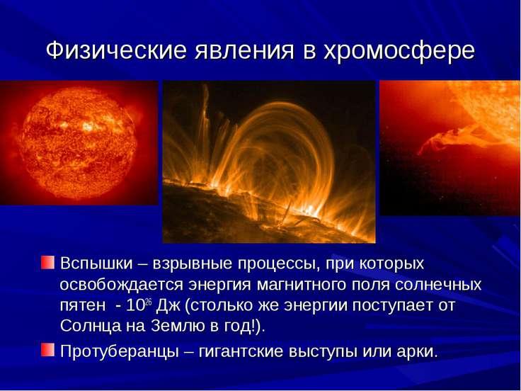 Физические явления в хромосфере Вспышки – взрывные процессы, при которых осво...