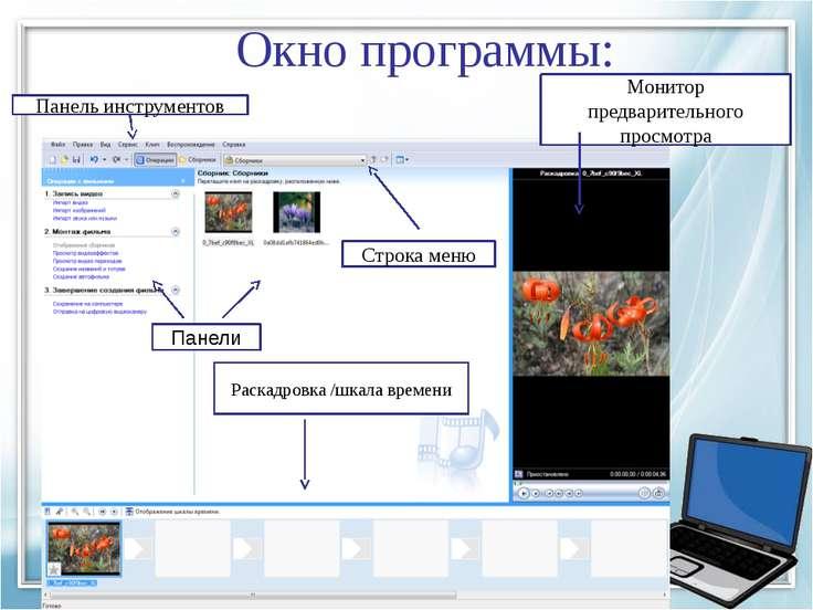 Окно программы: Панели Раскадровка /шкала времени Строка меню Панель инструме...