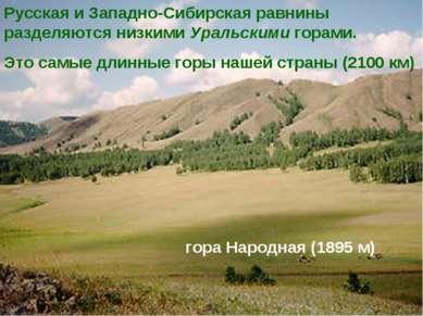 Русская и Западно-Сибирская равнины разделяются низкими Уральскими горами. Эт...