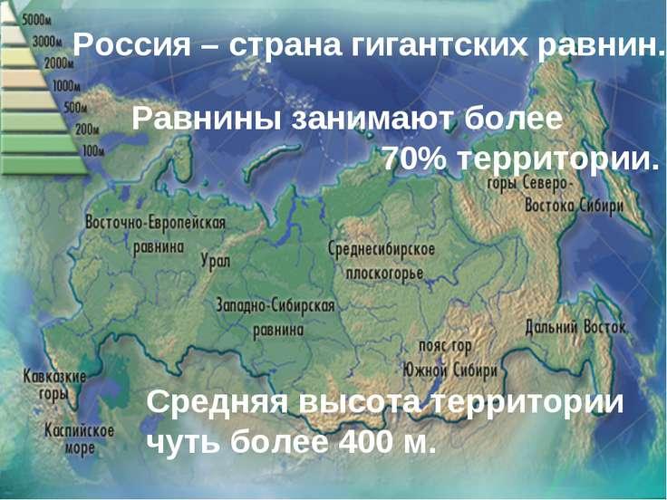 Россия – страна гигантских равнин. Средняя высота территории чуть более 400 м...