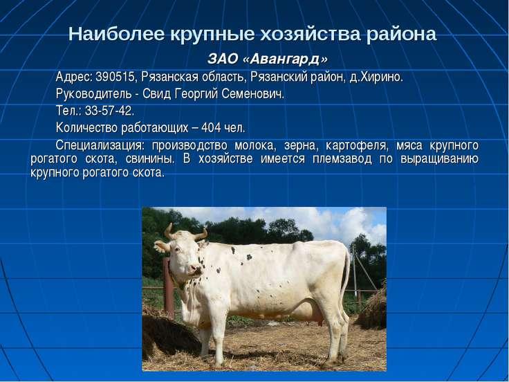 Наиболее крупные хозяйства района ЗАО «Авангард» Адрес: 390515, Рязанская обл...