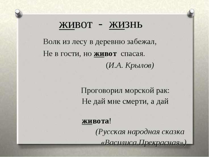 живот Волк из лесу в деревню забежал, Не в гости, но живот спасая. (И.А. Крыл...