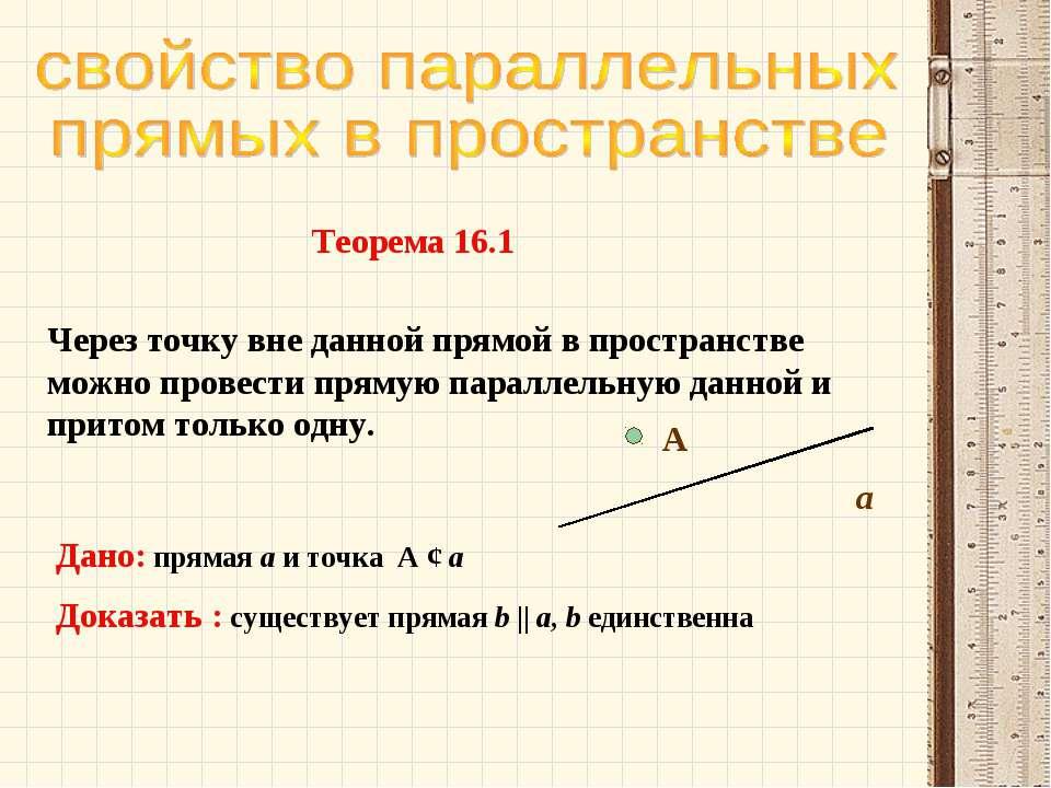 Через точку вне данной прямой в пространстве можно провести прямую параллельн...