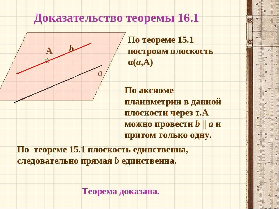 Доказательство теоремы 16.1 а А По теореме 15.1 плоскость единственна, следов...