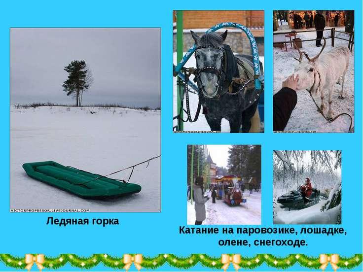 Ледяная горка Катание на паровозике, лошадке, олене, снегоходе.