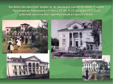 Количество жителей выросло до двадцати тысяч человек. Указом Президиума Верхо...