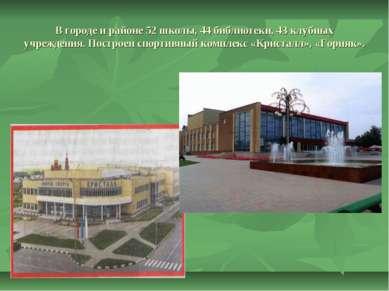 В городе и районе 52 школы, 44 библиотеки, 43 клубных учреждения. Построен сп...