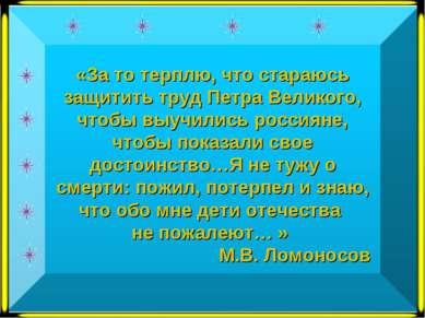 «За то терплю, что стараюсь защитить труд Петра Великого, чтобы выучились рос...