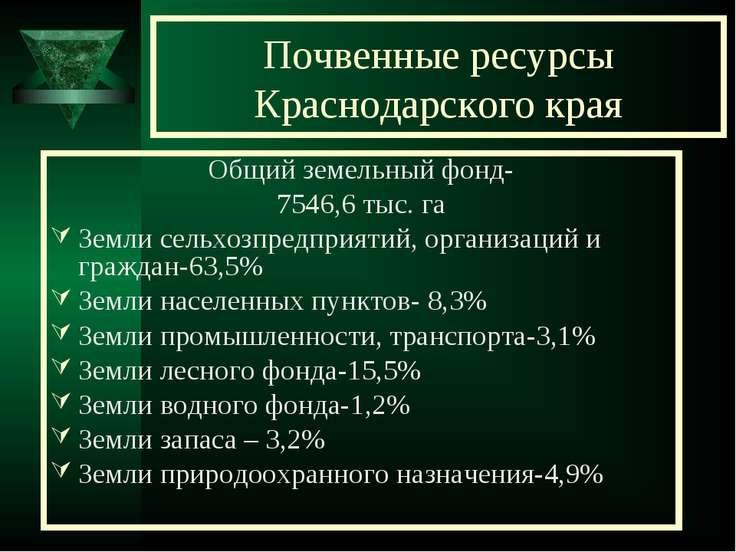 Почвенные ресурсы Краснодарского края Общий земельный фонд- 7546,6 тыс. га Зе...